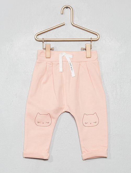 Pantalón de felpa estampado                                                                                         ROSA