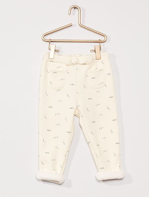 Pantalón de felpa forrado                                             BLANCO
