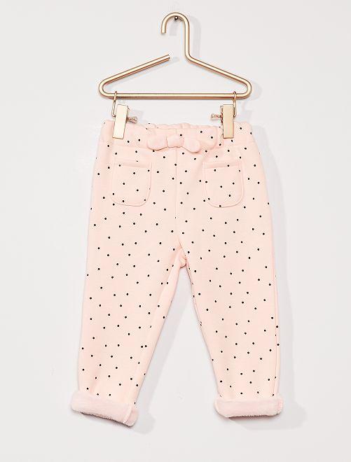 Pantalón de felpa forrado                                                     ROSA
