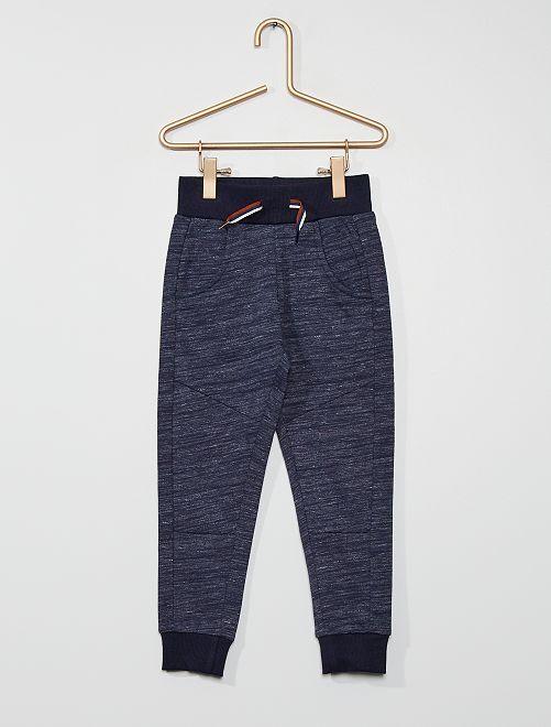 Pantalón de felpa jaspeada                             azul marino