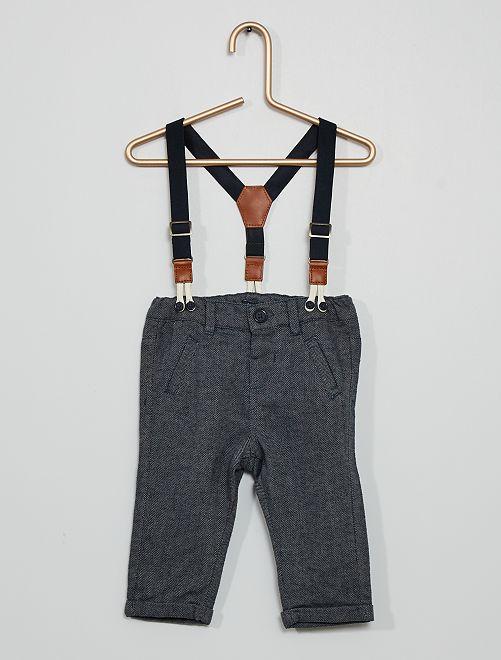 Pantalón de franela con tirantes                             GRIS