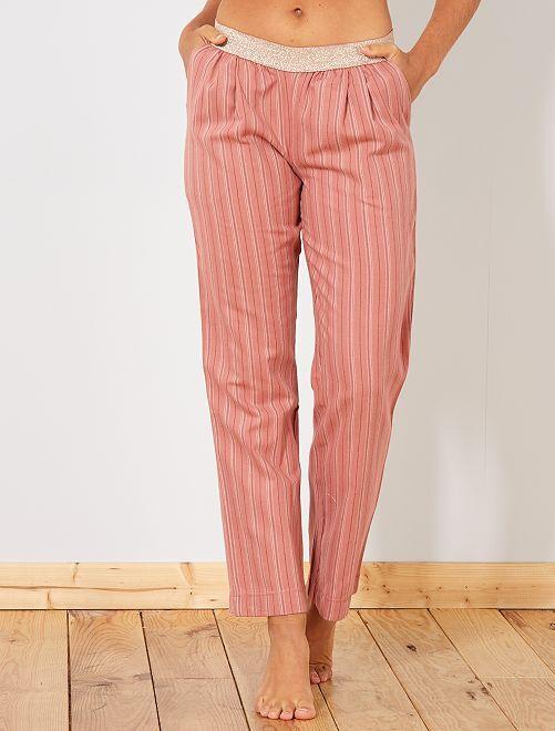 Pantalón de franela                                                                 rosa a rayas Lencería de la s a la xxl