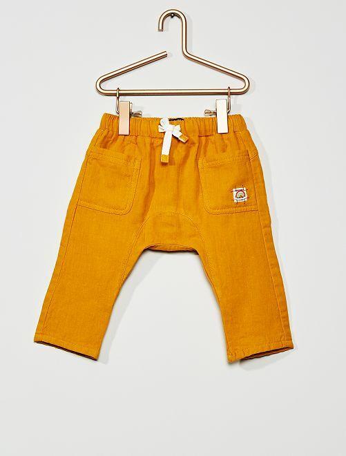 Pantalón de gasa de algodón                                                     amarillo bronce