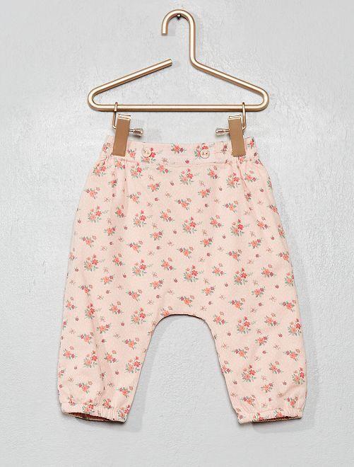 Pantalón de gasa de algodón con estampado de 'flores'                                                     ROSA