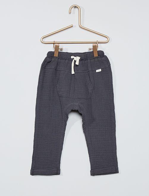 Pantalón de gasa de algodón 'eco-concepción'                             GRIS