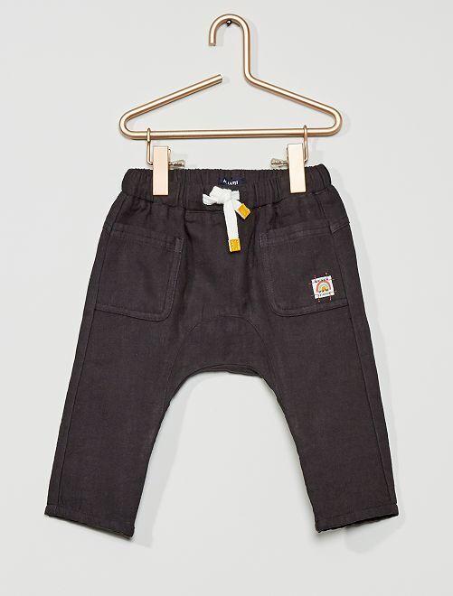 Pantalón de gasa de algodón                                                     gris oscuro