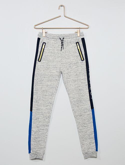 Pantalón de jogging con banda                             gris