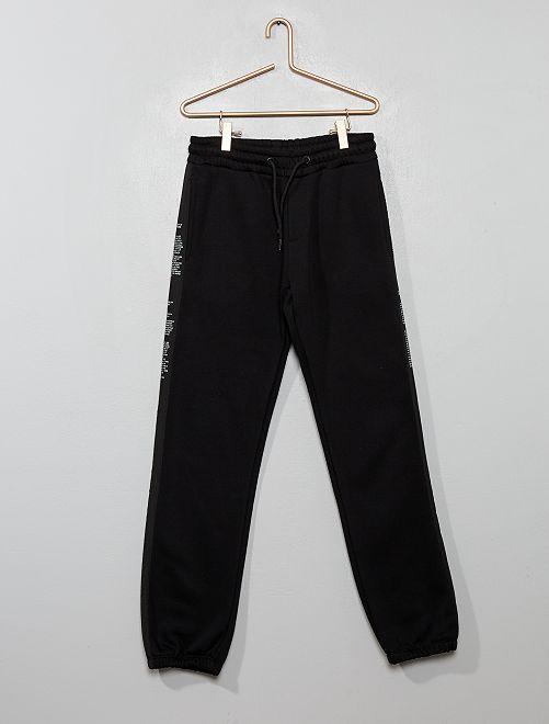 Pantalón de jogging con bandas con mensajes                                         negro