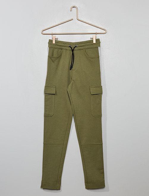 Pantalón de jogging con bandas laterales                             caqui