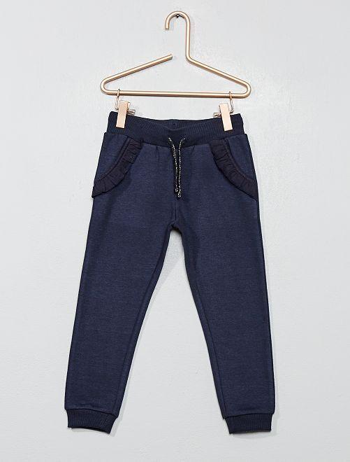Pantalón de jogging con bolsillo con volante                                                                 azul Chica