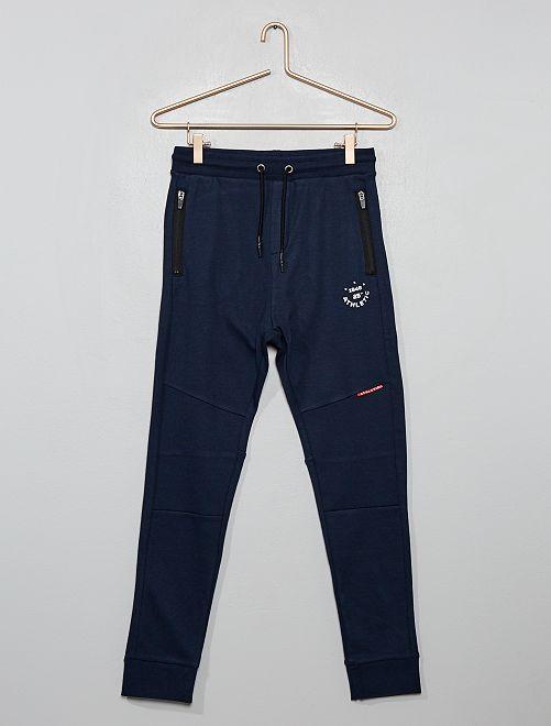 Pantalón de jogging con cremalleras en los bolsillos                             AZUL