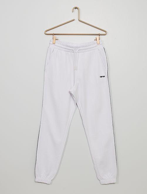 Pantalón de jogging con franja estampada                                                                                                                 BLANCO