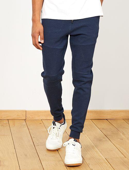 Pantalón de jogging con pespuntes y cremalleras                     AZUL Hombre