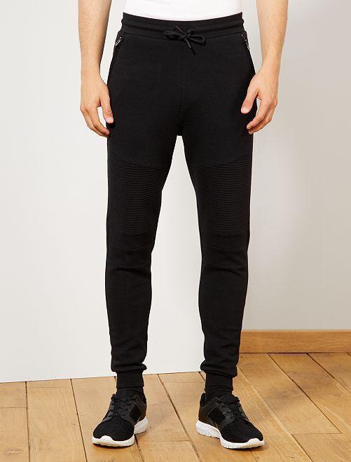 Pantalón de jogging con pespuntes y cremalleras                                                     negro Hombre