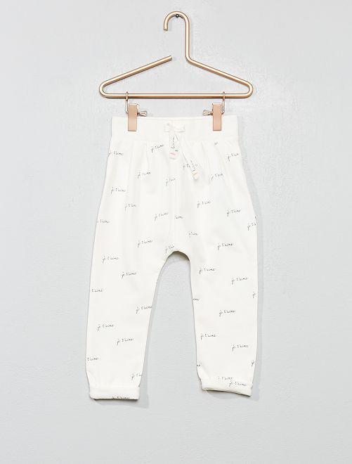 Pantalón de jogging estampado                                                     BLANCO Bebé niña