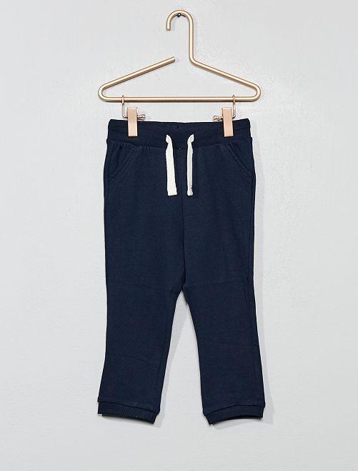 Pantalón de jogging liso de felpa                                                         azul