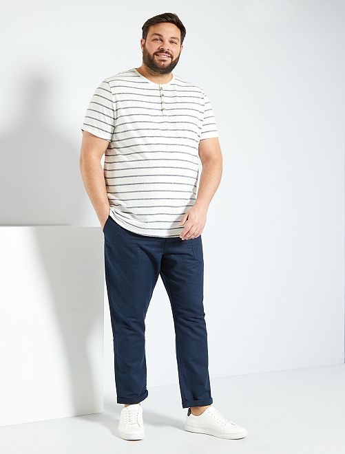Pantalón de lino y algodón                                         AZUL