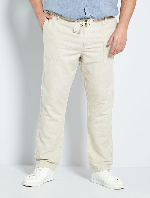 Pantalón de lino y algodón                                         beige