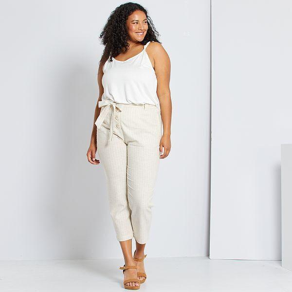 Pantalon De Lino Y Algodon Tallas Grandes Mujer Beige Kiabi 13 00