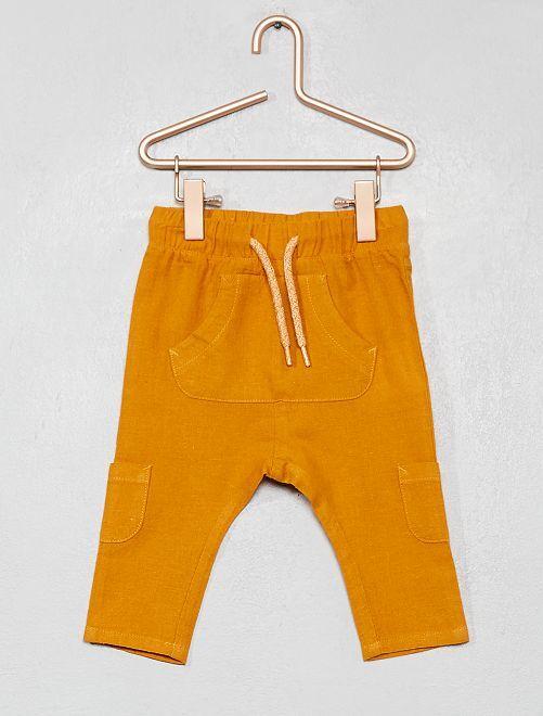 Pantalón de lino y algodón multibolsillos                                                     AMARILLO Bebé niño