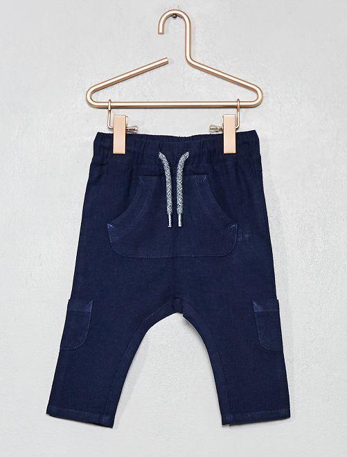 Pantalón de lino y algodón multibolsillos                                                     AZUL Bebé niño