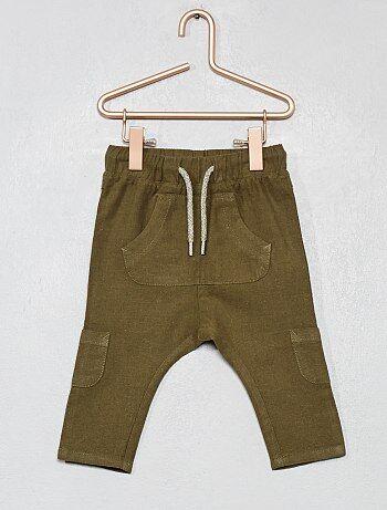 a284357b1 Niño 0-36 meses - Pantalón de lino y algodón multibolsillos - Kiabi