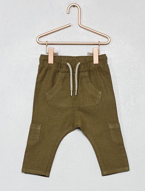 Pantalón de lino y algodón multibolsillos                                                     VERDE Bebé niño