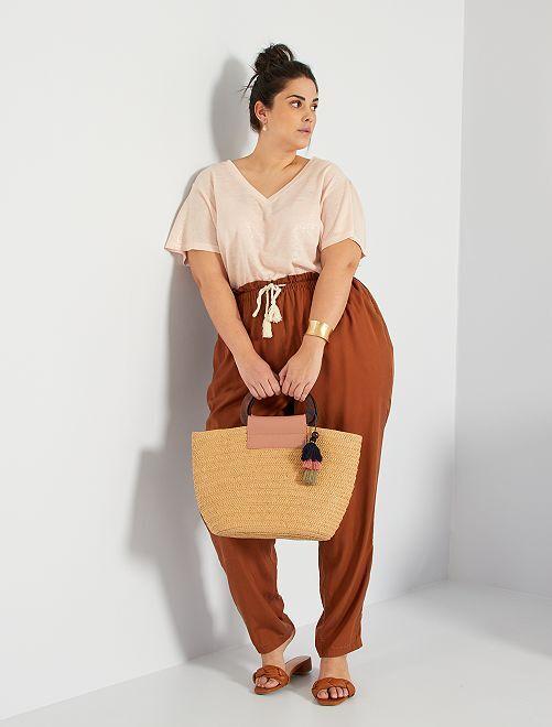 Pantalón de lyocell                                 camello