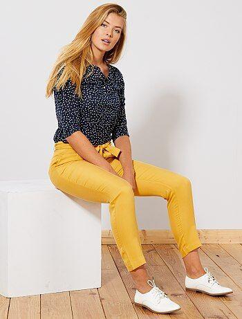 Mujer talla 34 a 48 - Pantalón de lyocell con pinzas - Kiabi a0e7cb2fc6b
