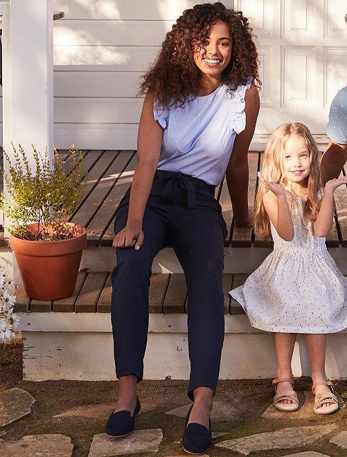 Pantalón de lyocell con pinzas                                                                                         AZUL Mujer talla 34 a 48