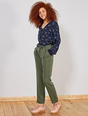 Pantalón de lyocell con pinzas - Kiabi fb5738d2c43