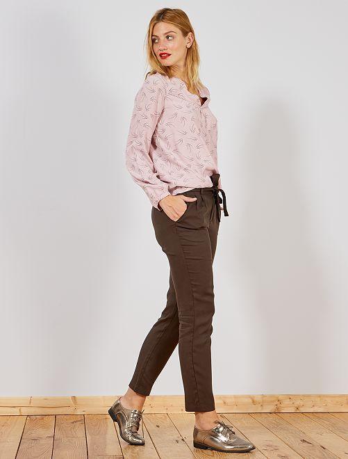 Pantalón de lyocell con pinzas                             MARRON Mujer talla 34 a 48