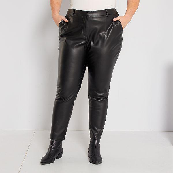 Pantalon De Material Sintetico Tallas Grandes Mujer Negro Kiabi 20 00