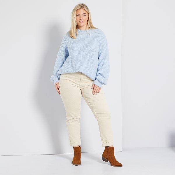Pantalon De Pana Tallas Grandes Mujer Beige Kiabi 22 00