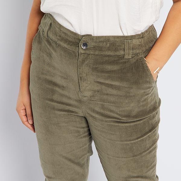 Pantalon De Pana Tallas Grandes Mujer Kaki Kiabi 22 00