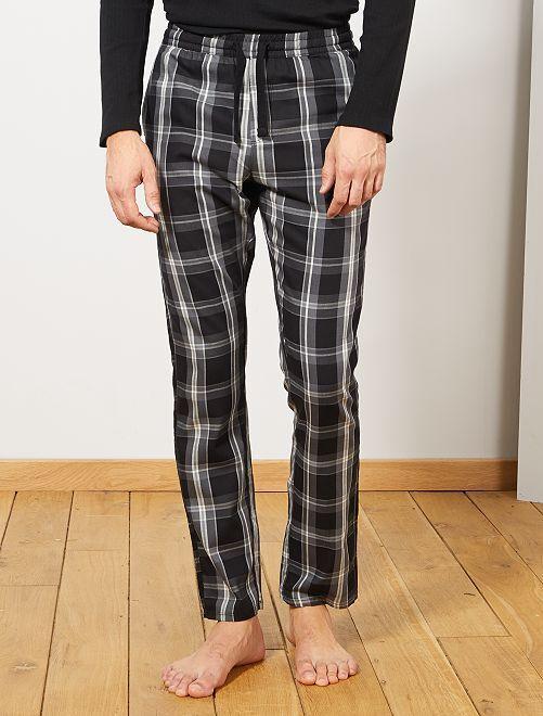 Pantalón de pijama de cuadros                                                     NEGRO