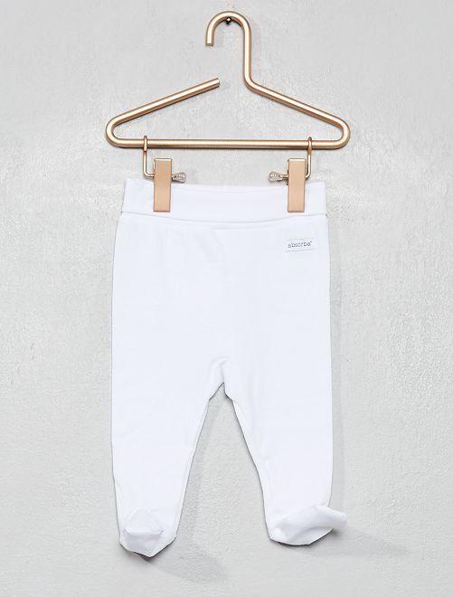 Pantalón de pijama de punto con pies 'Absorba'                             blanco