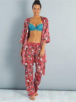 Pantalón de pijama - Pantalón de pijama satinado con motivos japoneses