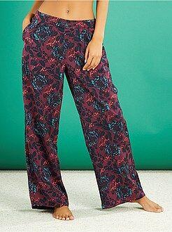 Pijamas, babydoll - Pantalón de pijama satinado estampado