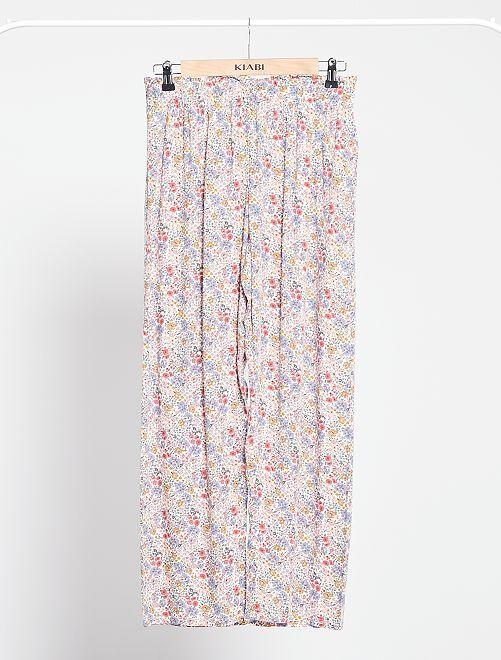 Pantalón de pijama vaporoso                                         BLANCO