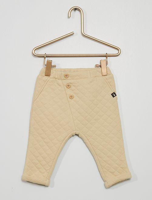Pantalón de punto acolchado                                         beige lavado