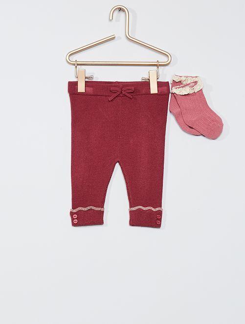 Pantalón de punto + calcetines                                                     rosa indio