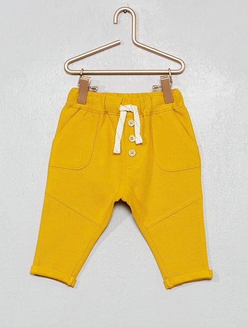 Pantalón de punto de canalé                                                                             amarillo bronce
