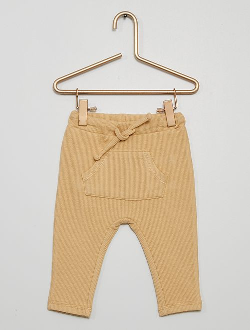 Pantalón de punto de canalé                                         BEIGE