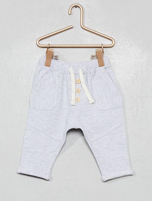 Pantalón de punto de canalé                                                                             GRIS