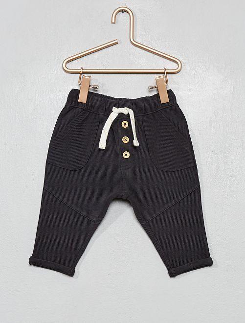 Pantalón de punto de canalé                                                                             gris oscuro
