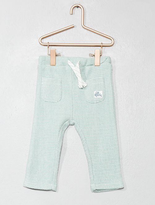 Pantalón de punto de fantasía                             a rayas verde Bebé niño
