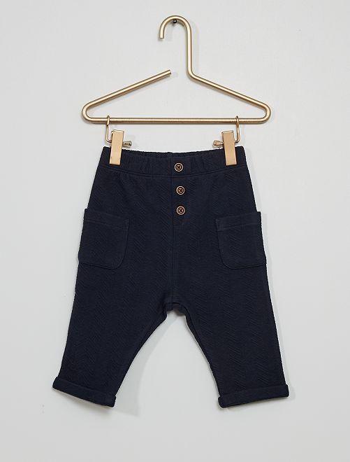 Pantalón de punto en relieve 'espigas'                                                     azul