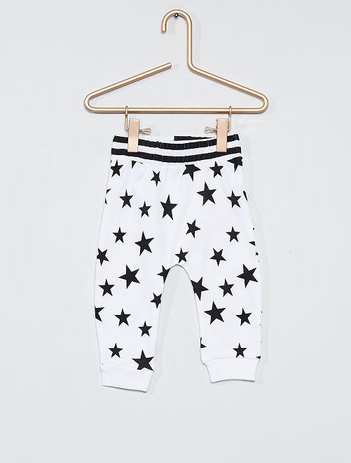 Pantalón de punto estampado 'estrellas'                             blanco/negro