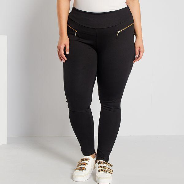 Pantalon De Punto Milano Con Cremalleras De Fantasia Tallas Grandes Mujer Negro Kiabi 25 00